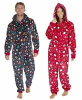 Adults / Mens / Ladies / Unisex Christmas Design Fleece Onezee / Sleepsuit