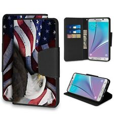 For Samsung Galaxy Note 5, Pu Leather Flip Wallet Phone Case Bald Eagle Usa Flag
