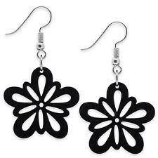 Holz-Ohrringe Blüten schwarz 1 Paar Holzschmuck organisch Natur