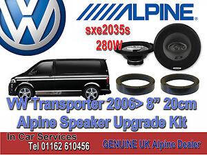 "VW Transporter 2006> Alpine Front Door 8"" 20cm Speaker Upgrade Set 280W kit"