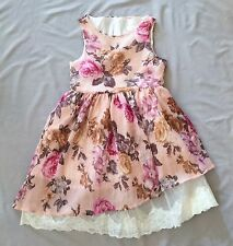 NWT INNOCENCE GIRLS ASYMMETRICAL WRINKLED FLORAL DRESS SZ 9 Y TULLE LACE DETAIL