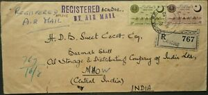 PAKISTAN 16 AUG 1952 REGISTERED AIRMAIL COVER FROM LAHORE TO MHOW, INDIA