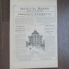 PUBLICITE ANCIENNE 1898 INSTITUTS MARINS INSTITUT VERNEUIL LA BAULE