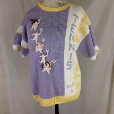 Ladies Lavender Pullover Tennis Sweater Size L by Raquel Collection 100% Cotton