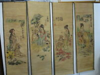 Set of 4  Vintage Chinese Scrolls  Art - Maiden with Tiger