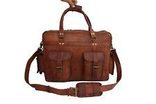 "18"" Leather Pilot Bag Flight Luggage Handbag Laptop Briefcase Satchel Messenger"