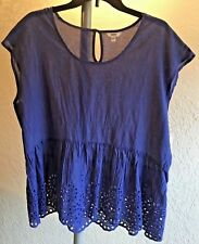 Misses Sonoma Sz L Solar Blue 100% Cotton Sleeveless Pull Over Top Eyelet Trim