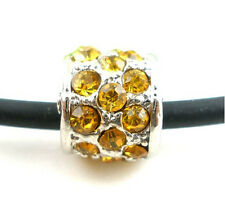 Rhinestone Yellow Tube Charm Spacer European Bead Compatible for Most European S