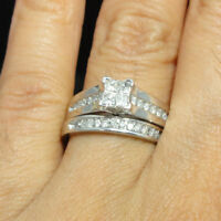 Ladies 10K White Gold Princess Cut Diamond Engagement Wedding Bridal Ring Set