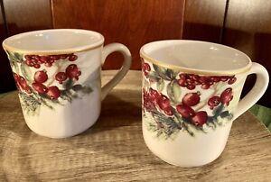 2 - William Sonoma Botanical Wreath Gold Rim Coffee Tea Mugs Set 2 * Mint