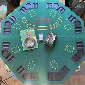 Poker, Black Jack, Card Games Foldable Table + Extras