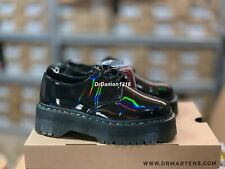 NIB Dr. Martens 1461 Rainbow Patent Quad Black Rainbow PLATFORM SHOES 25053001