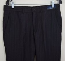 Angelico Wool Dress Pants 34 Charcoal Gray Pleat Front Trousers Italy Super 100
