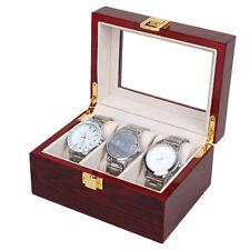 3 Slot Watch Case Display Box Wood Glass Top Jewelry Storage Organizer Men Gift