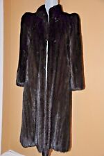 VTG 1985 Womens Knee Length Mint Condition Black Mink Fur Coat 0-2 Extra Small