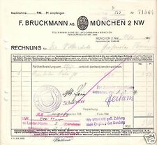 Rechnung, Fa. F. Bruckmann AG, München 2 NW, 12.2.37