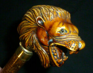 """Vintage Comoy's of London Carved Lion's Head 30.5"""" Cane or Walking Stick Italy"""