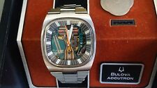 serviced 1973 BULOVA Accutron 214 Triple Cushion Spaceview Mens Watch