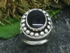 Women's Ring with Dots 925 Silver Ring with Stone Black 55