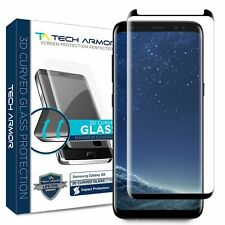 Tech Armor 3D-Edge Glass Screen Protector (Black)[1-Pack] for Samsung Galaxy S8
