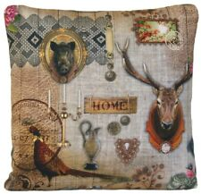 Hunting Lodge Cushion Cover Grey Pillow Case Pheasant Wild Boar Vintage Deer B
