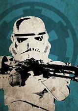 Star Wars Stormtrooper Poster Aged Vintage Pop Art Style A3