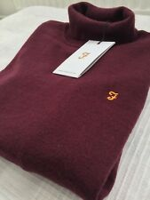 Farah Mens Collection Roll Turtle Neck Jumper in Deep Burgundy Lambswool XS