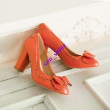 Womens Carved Bowknot Synthetic Leather Lace Thick Heel Shoes Pump Casual Shoes
