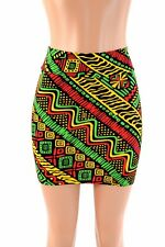 SMALL Tribal Rasta Red/Green/Gold Spandex Bodycon Mini Skirt Ready To Ship!