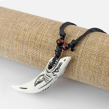 White Classic Imitate Yak Bone Carved Shark Tooth Necklace Pendant Talismans