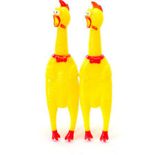 Cute Screaming Rubber Yellow Chicken Pet Dog Toy Squeak Squeaker Chew Gift 1pc