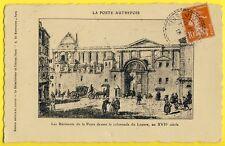 cpa Gravure PARIS La POSTE AUTREFOIS devant la Colonnade du LOUVRE Vers 1600