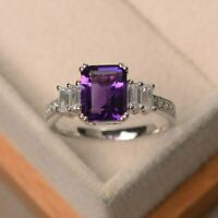 3Ct Emerald Cut Amethyst Diamond Solitaire Engagement Ring 14K White Gold Finish