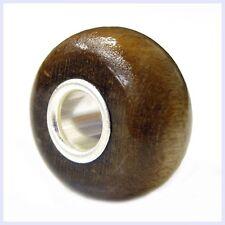 Sterling Silver Light Brown Nature Genuine Wood Bead for European Charm Bracelet