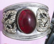 Exquisite Tibet Silver Red Ruby Oval Beads Cuff bracelet