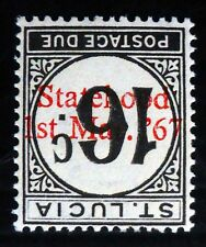St LUCIA 1952 - 16c Postage Due Chalky Paper with Statehood Inverted/OPT NC226
