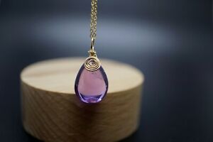 14k Gold Filled Teardrop Amethyst Pendant with Chain Necklace 16'' Gift for Her
