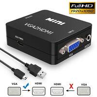 VGA to HDMI Full HD Video 1080P Converter Box Adapter for PC Laptop DVD TV
