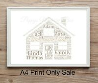 Personalised New Home House Word Art Gift Keepsake A4 House warming Print