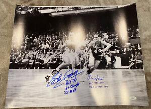 Bob Cousy Jerry West Multiple Inscriptions Signed 16x20 Lakers Celtics JSA Rare