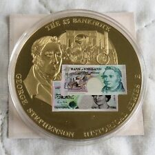 £5 BANKNOTE SERIES E 2010 50mm GOLD PROOF MEDAL - coa