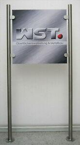 Edelstahl Werbeschild Ständer VA Firmenschild Halter Praxisschild Reklameschild