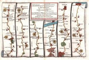 Antique map, The Roads from Chelmsford to Maldon & Raleigh in Essex & Gravesend