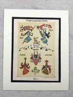 1886 Antique Print Heraldry Family Crest European Nobility Battle of Sempach