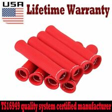 "SET OF 8 Red 6"" HIGH HEAT SHIELD ENGINE SPARK PLUG WIRE BOOT PROTECTOR SLEEVE US"