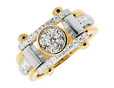 10K Two Tone Gold Men's VS2 Cluster Genuine Diamond Statement Pinky Ring 1ct