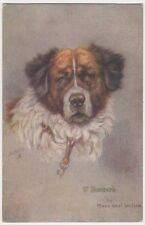 Maud West Watson, St. Bernard, Tuck 3103 Dog Art Postcard, B673