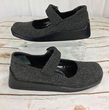 Vintage Prada Mary Jane Shoes Womens 37 Wool 90s Square Toe Clog Platform Chunky