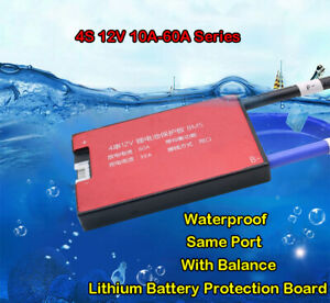 Waterproof BMS 4S 12V 20/30/40/50/60A LiFePO4 Battery Protection Board W/Balance
