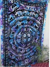 Psychedelic Hippie Mandala Tie Dye Elephan Wall Hanging Bedspread Tapestry Throw